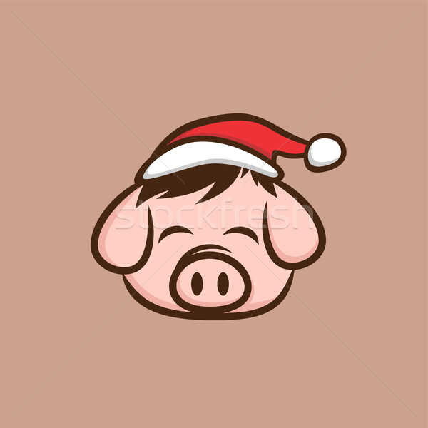 веселый Рождества свинина бекон свинья Cartoon Сток-фото © vector1st