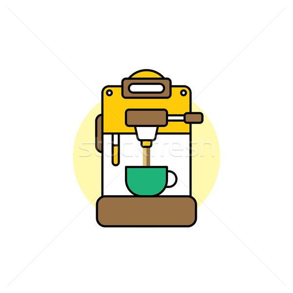 Foto stock: Desenho · animado · vetor · arte · ilustração · café