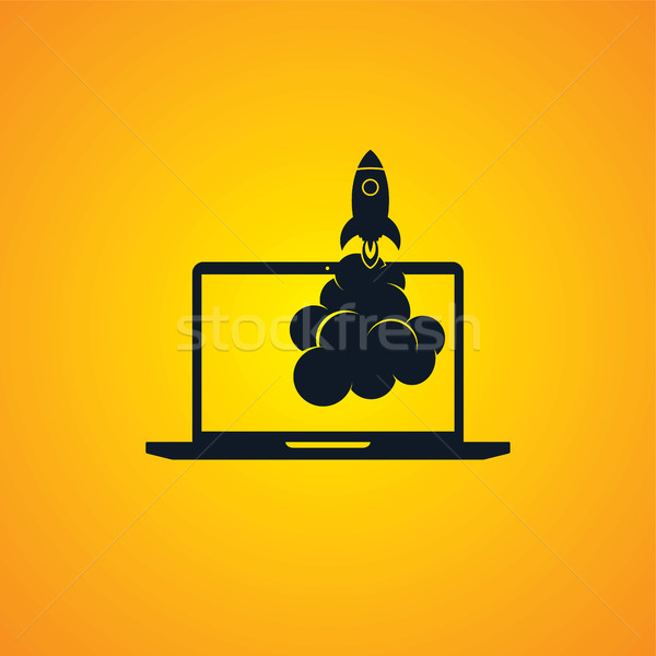 Kezdet felfelé program rakéta számítógép csizma Stock fotó © vector1st