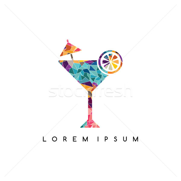 lounge bar cocktail logotype logo abstract colorful geometrical Stock photo © vector1st