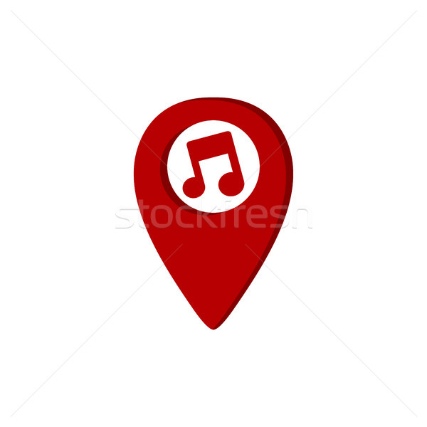 music gps location icon key note theme logo template Stock photo © vector1st