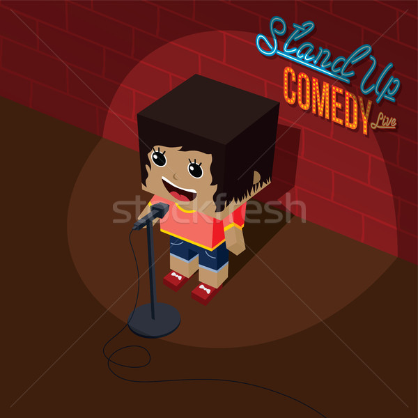 stand up comedy open mic female comic onstage isometric Stock photo © vector1st
