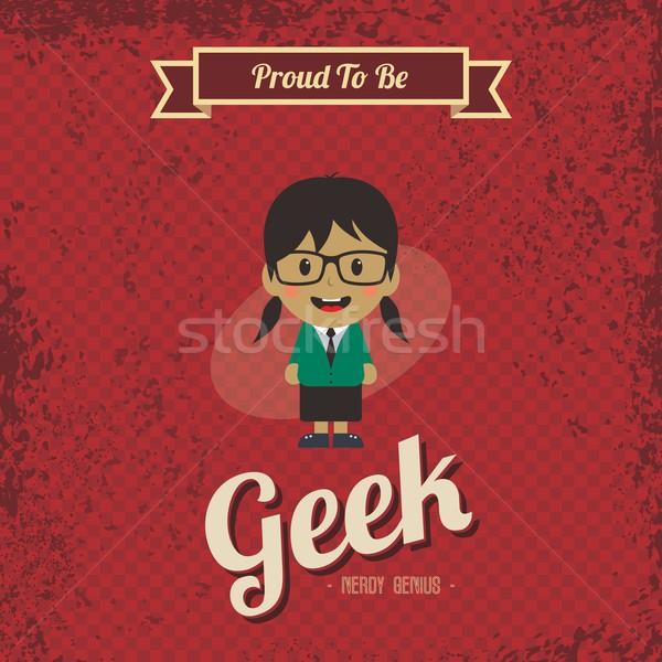 Genie geek retro cartoon vector kunst Stockfoto © vector1st