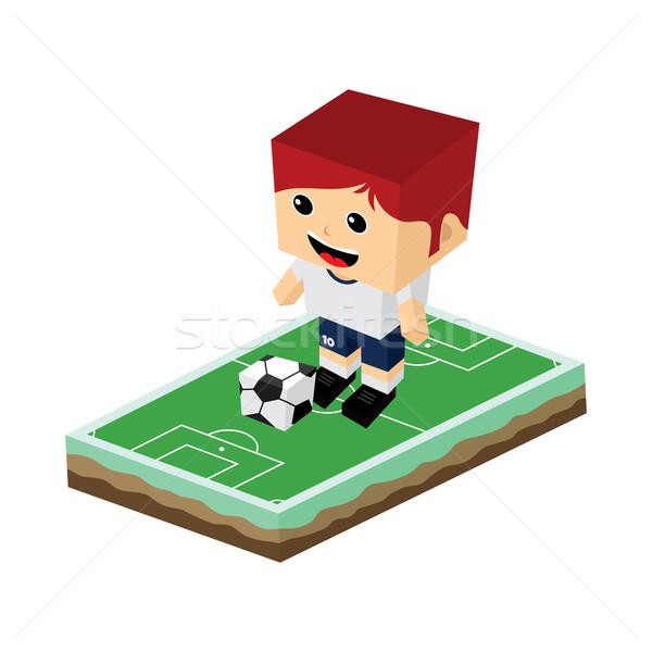 Rajz labdarúgó izometrikus vektor művészet illusztráció Stock fotó © vector1st