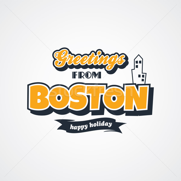 Stockfoto: Boston · vakantie · vector · kunst · illustratie