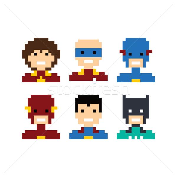 ピクセル 人 スーパーヒーロー アバター セット ベクトル ストックフォト © vector1st