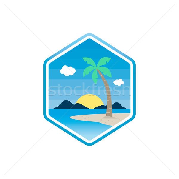 Tengerpart idő trópusi sziget nyári vakáció vektor művészet Stock fotó © vector1st
