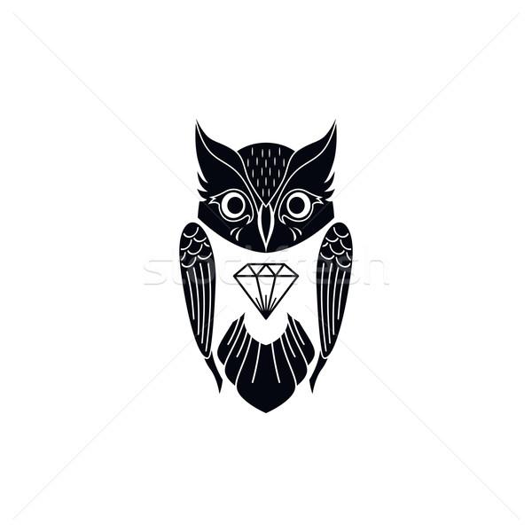 Dekoratív bagoly művészet madár vektor illusztráció Stock fotó © vector1st