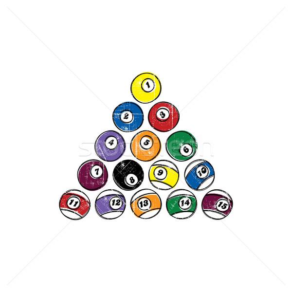 бильярдных мяча эскиз болван набор Сток-фото © vector1st