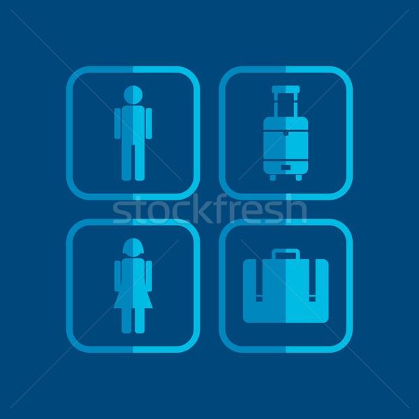 Repülőtér ikon vektor grafikus művészet illusztráció Stock fotó © vector1st