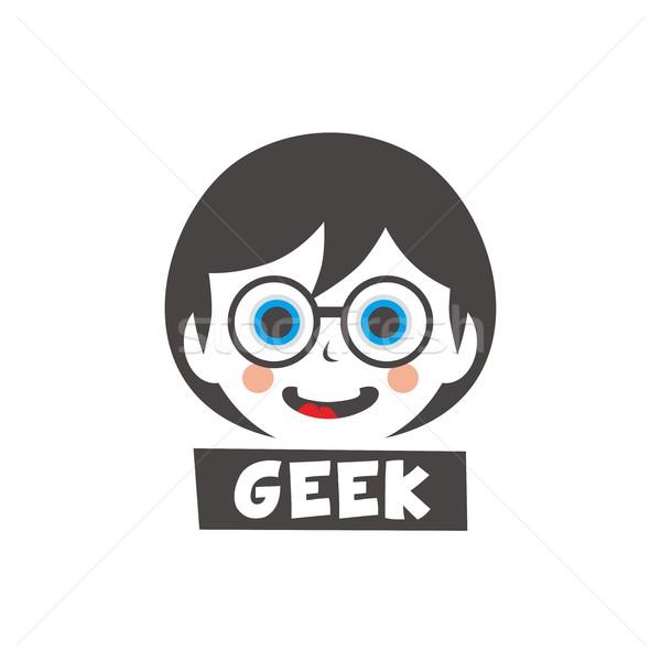Giovani geek ragazza cartoon faccia capelli Foto d'archivio © vector1st