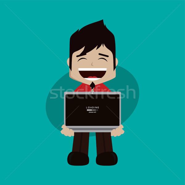 businessman manager at work holding laptop cartoon vector art Stock photo © vector1st