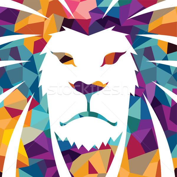 Leeuw hoofd vector logo sjabloon creatieve Stockfoto © vector1st