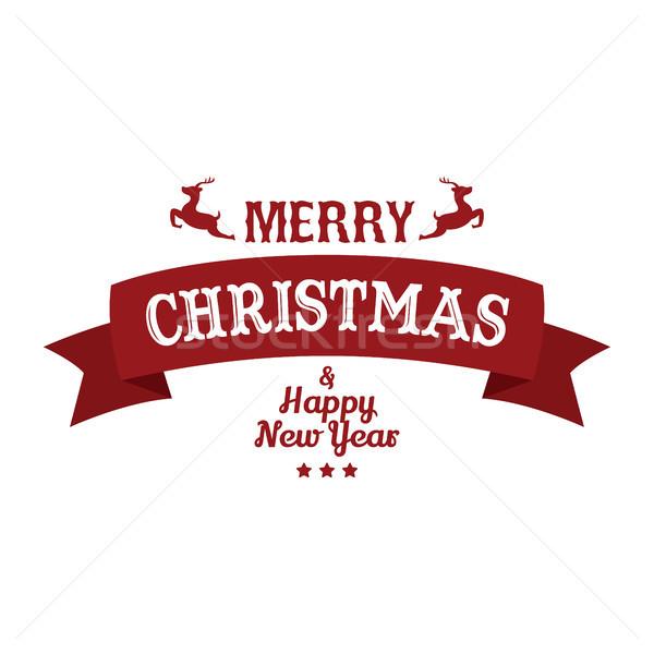 Neşeli Noel happy new year vektör sanat imzalamak Stok fotoğraf © vector1st