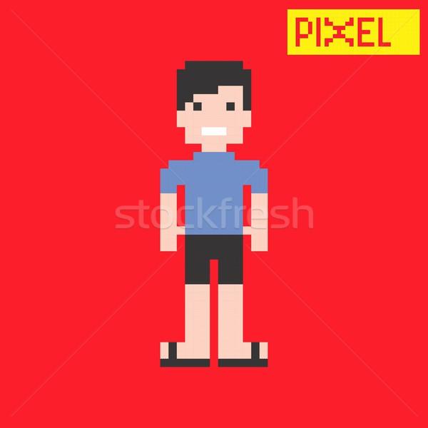 Пиксели характер вектора графических искусства дизайна Сток-фото © vector1st