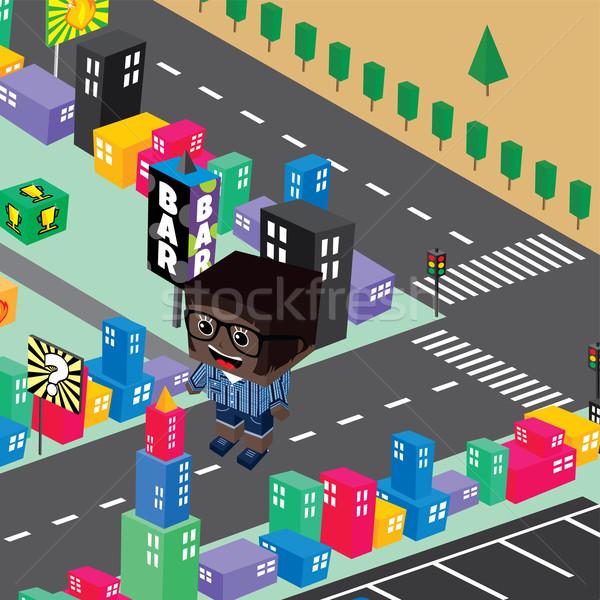 block isometric world cartoon Stock photo © vector1st