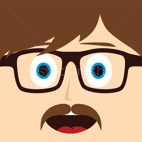 Geek bıyık adam vektör sanat Stok fotoğraf © vector1st