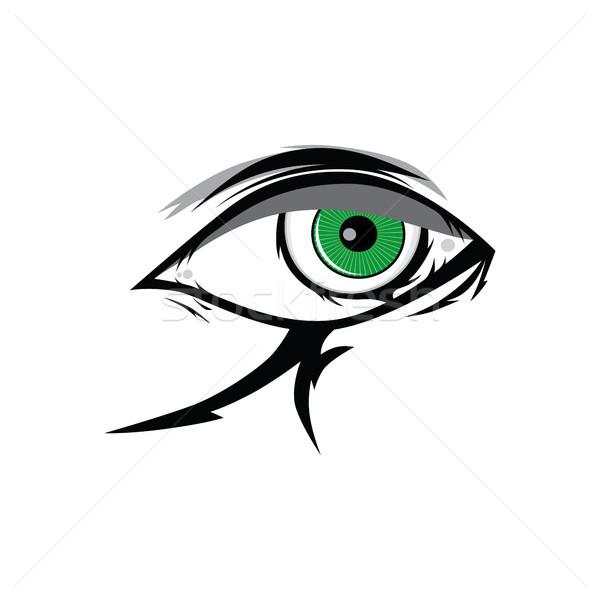 cartoon angry green horus god eyes for comics design vector art Stock photo © vector1st