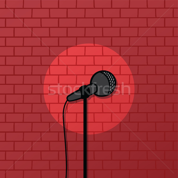 Rouge brique Spotlight stand up comédie Photo stock © vector1st