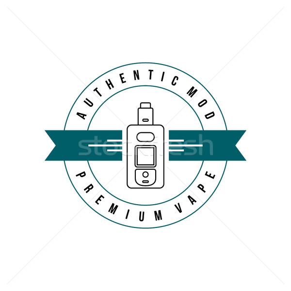 Stock photo: electric cigarette personal vaporizer e-cigarette retro label badge