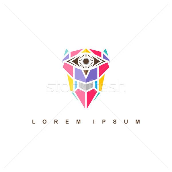 Egy szem bagoly logo logotípus színes Stock fotó © vector1st