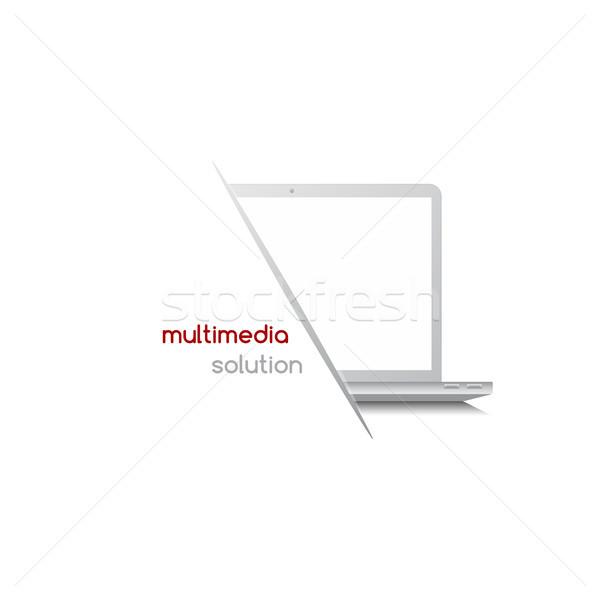 Blocnotes laptop soluţie tehnologie reţea vector Imagine de stoc © vector1st