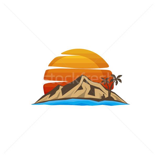 Dağ imzalamak simge vektör sanat plaj Stok fotoğraf © vector1st