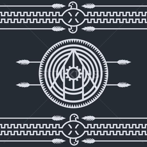Tubylec etnicznych sztuki symbol tkaniny orzeł Zdjęcia stock © vector1st