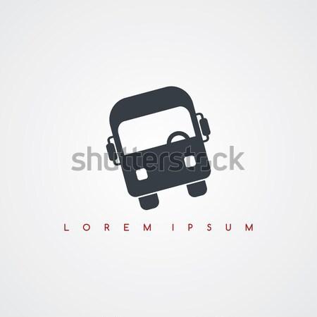 Busz közlekedés ikon felirat logotípus vektor Stock fotó © vector1st