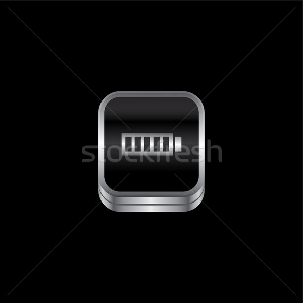 battery metal plate theme icon button Stock photo © vector1st