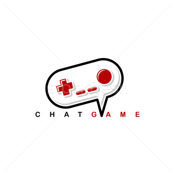 video game chat joystick console theme logo template Stock photo © vector1st