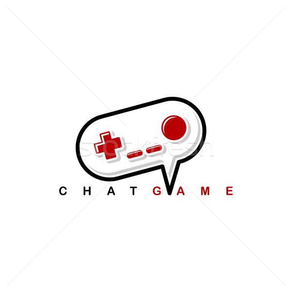 Video game chat bedieningshendel troosten logo sjabloon Stockfoto © vector1st