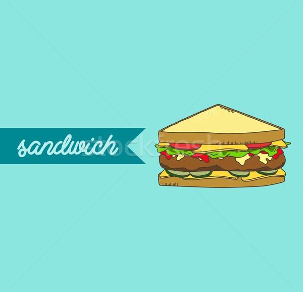 сэндвич продовольствие пить графических вектора искусства Сток-фото © vector1st