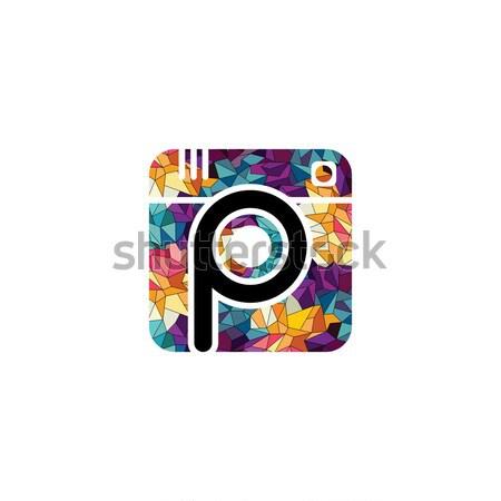 Absztrakt színes háromszög mértani fotózás logo Stock fotó © vector1st