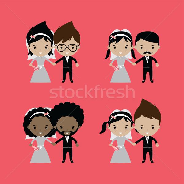 Adorabile lo sposo sposa matrimonio cartoon arte Foto d'archivio © vector1st