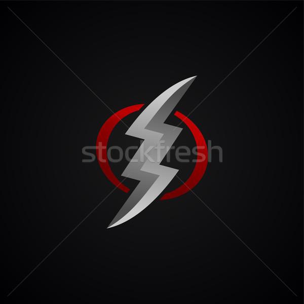 Stock fotó: Piros · ezüst · villám · vihar · felirat · vektor