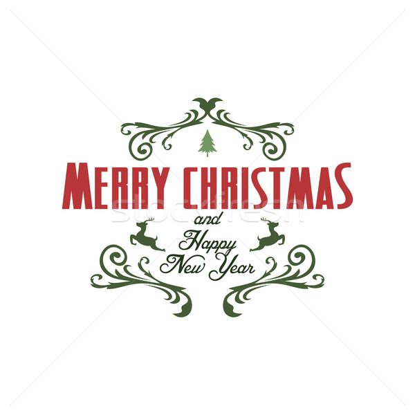 веселый Рождества Label Знак оленей Сток-фото © vector1st