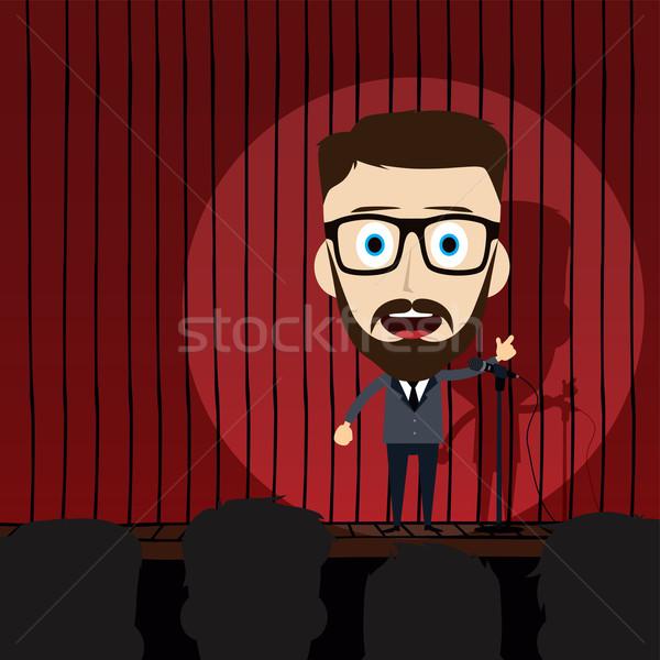 стоять вверх комедия Cartoon счастливым фон Сток-фото © vector1st