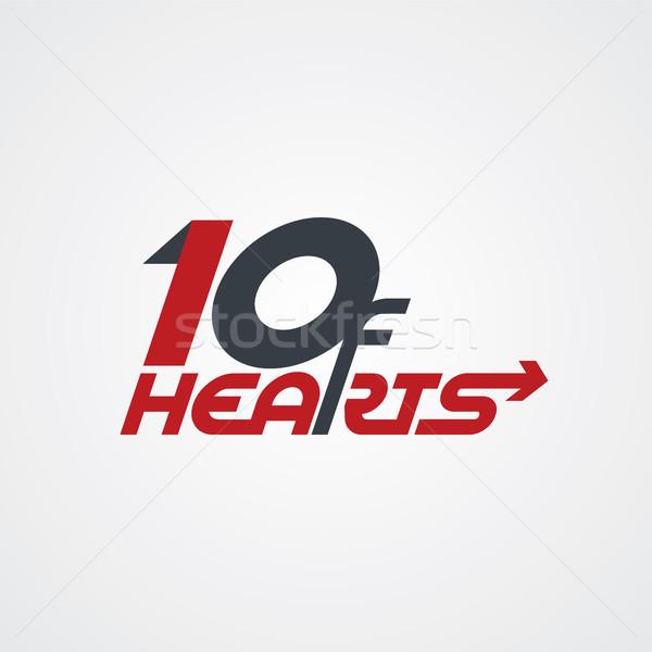 10 сердцах логотип покер вектора Сток-фото © vector1st