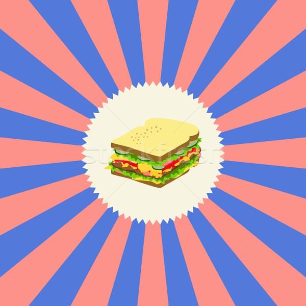 étel ital szendvics grafikus művészet étterem Stock fotó © vector1st
