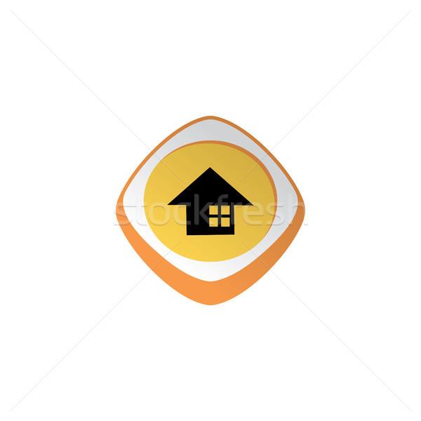 Otthon fényes szín app ikon gomb Stock fotó © vector1st