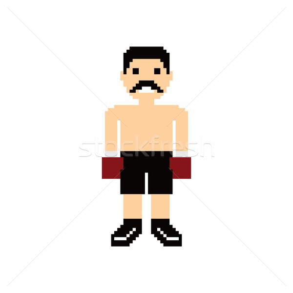 Pixel persone boxer avatar vettore arte Foto d'archivio © vector1st