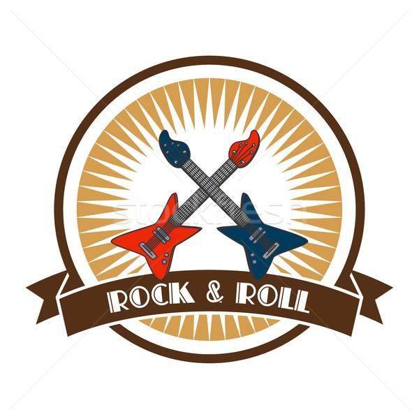 Rock rotolare chitarra etichetta adesivo vettore Foto d'archivio © vector1st