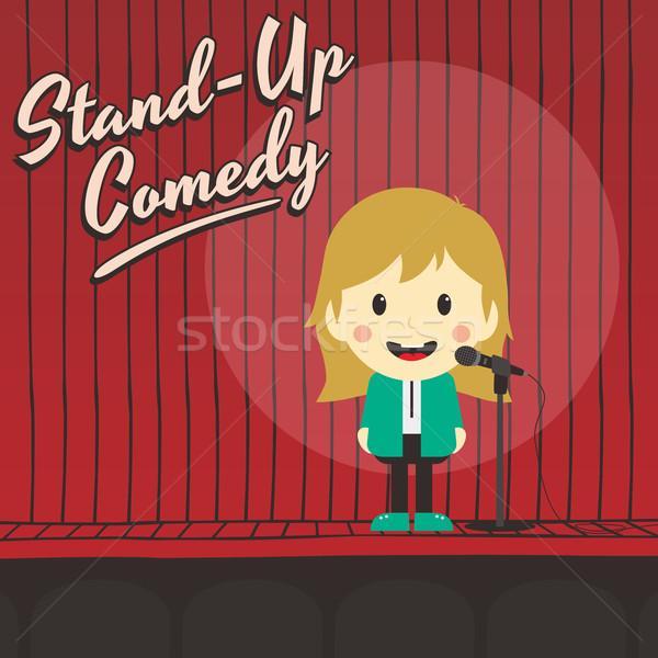 Femminile stand up comico musica Foto d'archivio © vector1st