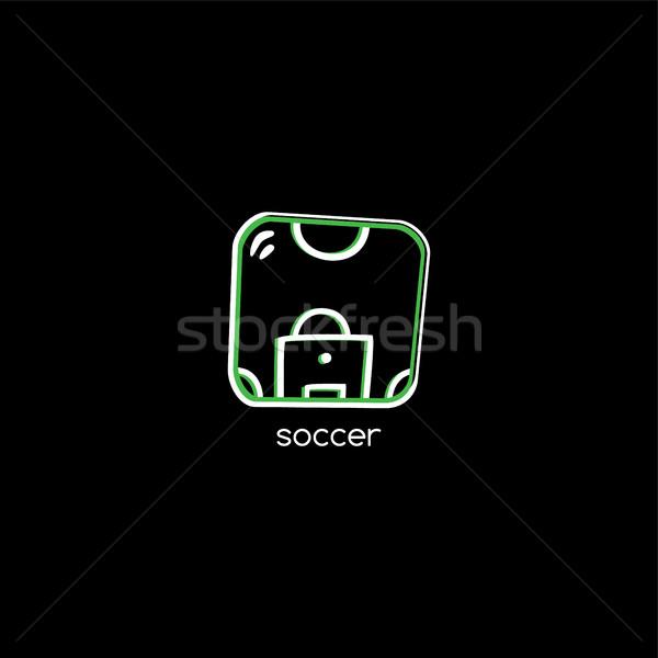 Futballpálya logotípus vektor művészet illusztráció futball Stock fotó © vector1st