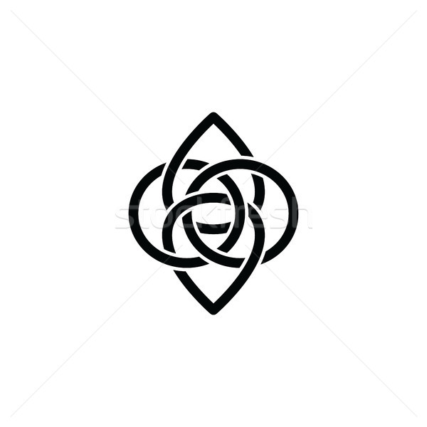 overlapping line floral shape - celtic theme sign Stock photo © vector1st