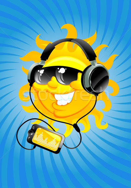 cartoon sun with headphone Stock photo © vectorArta