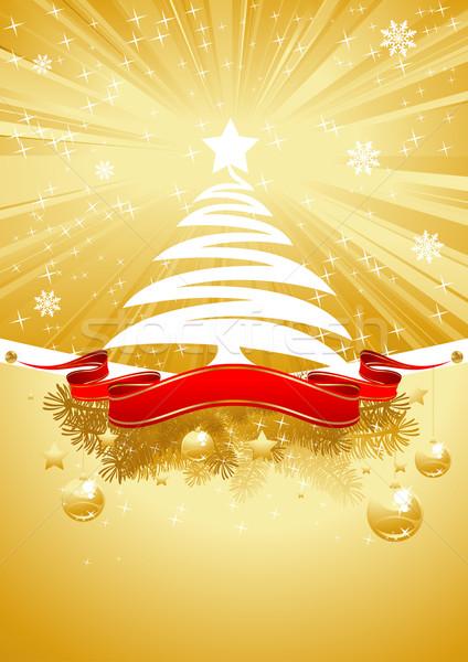 Arany karácsonyi üdvözlet karácsonyfa ragyogó kártya piros Stock fotó © vectorArta