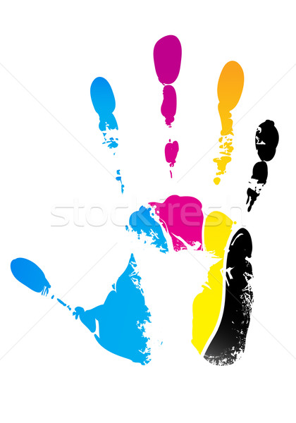 cmyk handprint Stock photo © vectorArta