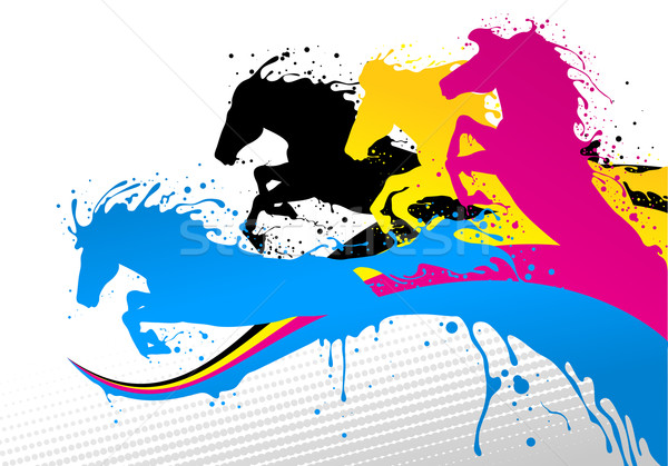 horse line cmyk Stock photo © vectorArta